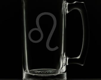 Leo 25 Ounce Personalized Beer Mug