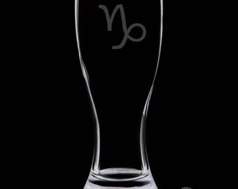 Capricorn 18 Ounce Personalized Pilsner Glass