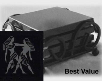 Gemini Drink Coasters Made Out Of Black  Granite, or Polished Slate (Black Granite - Best Value)