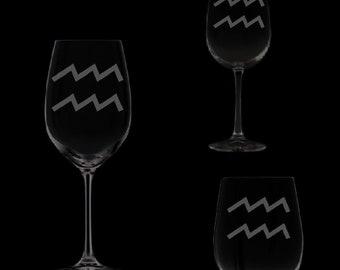 Aquarius Symbol Wine Glassware