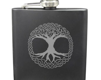 Tree Of Life Shot & 6 Ounce Flask Set