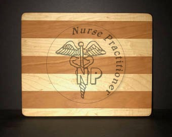 Nurse Practitioner Cuttingboards Made Out Of Cherry and Maple (8 X10 size displayed)