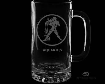 Aquarius 16 Ounce Personalized Beer Mug