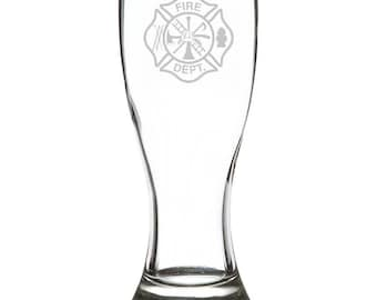 Fire Department 18 Ounce Personalized Pilsner Glass