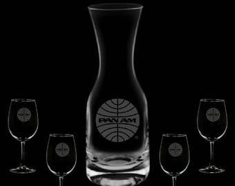 Pan American Airways 32 Ounce Wine Carafe & 4 Glass Set