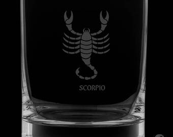 Scorpio 13 Ounce Personalized Rocks Glass