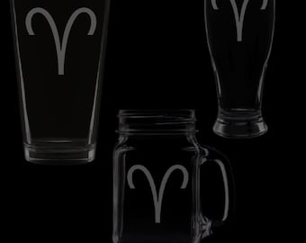 Aries Symbol Glassware