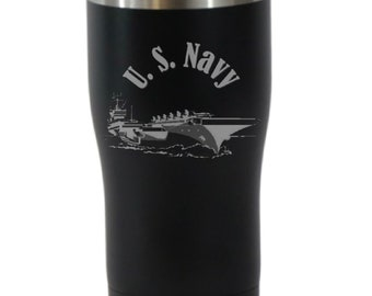 U S Navy 20 Ounce Black Cordova Tumbler (Also Available in Blue)