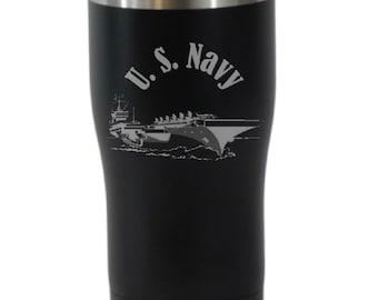 U S Navy 20 Ounce Black Cordova Tumbler