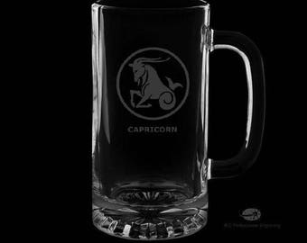 Capricorn 16 Ounce Personalized Beer Mug