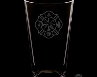 Fire Department 16 Ounce Personalized Pint Glass