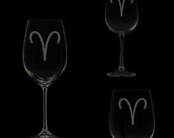 Aries Symbol Wine Glassware