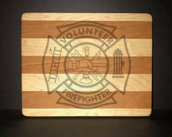 Volunteer Fire Department Maltese Cross Cuttingboards Made Out Of Cherry and Maple (8 X10 size displayed)