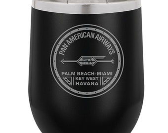 PanAm 1927 Logo 13 Ounce Black Polar Camel Wine Tumbler (Also Available in Red, White, Gray, & Blue)