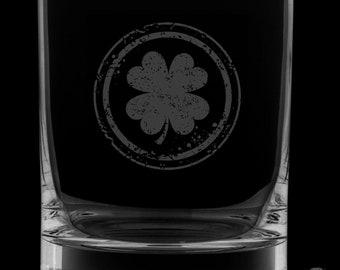 Irish Shamrock 13 Ounce Rocks Glass