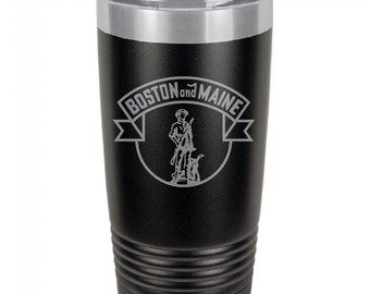Boston And Maine Railroad 20 Ounce Black Polar Camel Tumbler (Also Available in Red, White, Gray, & Blue)