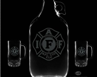 IAFF Personalized Growler and 16 Ounce Mugs Set.