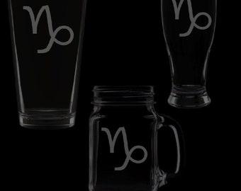 Capricorn Symbol Glassware