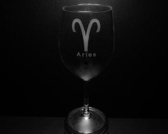 Aries Symbol 13 Ounce Wine Glass