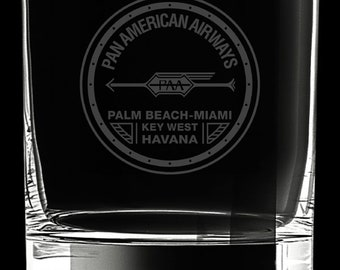 Pan Am 10 Ounce 1927 Logo Rocks Glass
