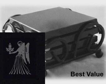 Virgo Drink Coasters Made Out Of Black  Granite, or Polished Slate (Black Granite - Best Value)