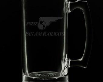 PanAm Railways Logo 25 Ounce Beer Mug (Also Available in 16oz & 12oz)