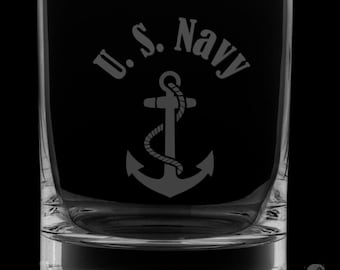 United States Navy 13 Ounce Rocks Glass