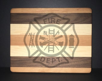 Fire Department Maltese Cross Cuttingboards Made Out Of Cherry, Black Walnut, and Maple (8 X10 size displayed)