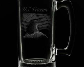 United States Veteran 25 Ounce Beer Mug (Also Available in 16oz & 12oz)