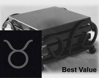Taurus Drink Coasters Made Out Of Black  Granite, or Polished Slate (Black Granite - Best Value)
