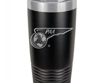 PanAm 1944 Wing Globe Logo, 20 Ounce Black Polar Camel Tumbler (Also Available in Red, White, Gray, & Blue)