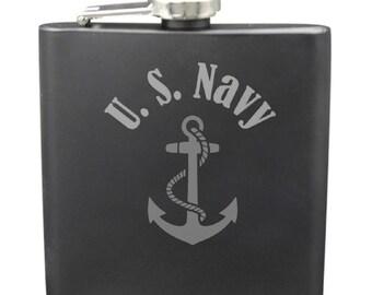Navy 6 Ounce Flask