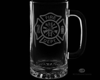 Fire Department 16 Ounce Personalized Beer Mug