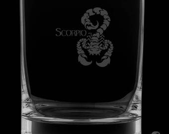 Scorpio 13 Ounce Personalized Rocks Glass