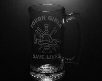 Tough Girls Save Lives 25 Ounce Beer Mug.