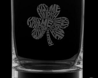 Kiss Me I'm Irish 13 Ounce Rocks Glass