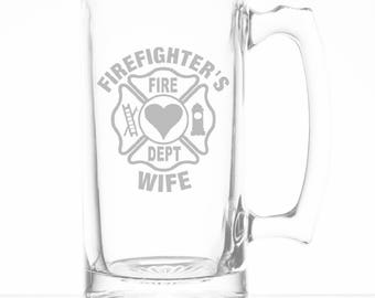 Firefighters Wife 25 Ounce Personalized Beer Mug