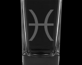 Pisces 2.75 Ounce Dessert Shot Glass (Also available in 2.0oz)