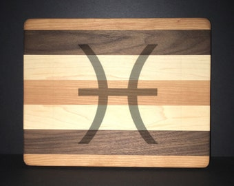 "Pisces 8""X 10"" Hand Made Cutting Board (Also Available in 7""X 9"" & 12""X 14"")"