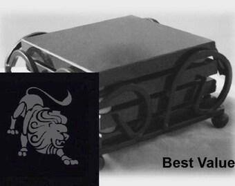Leo Drink Coasters Made Out Of Black  Granite, or Polished Slate (Black Granite - Best Value)