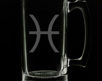 Pisces 25 Ounce Beer Mug (Also Available in 16oz & 12oz)