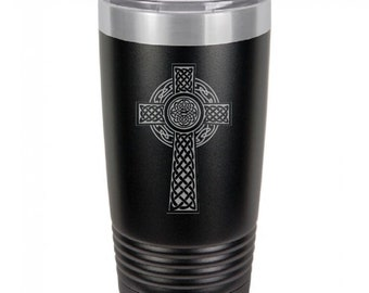 Celtic Cross 20 Ounce Black Polar Camel Tumbler (Also Available in Red, White, Gray, Green, & Blue)