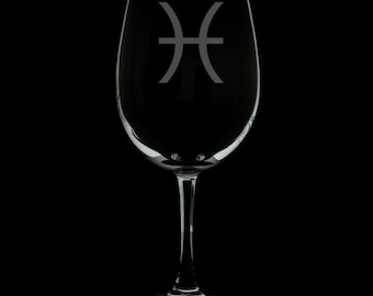 Pisces 12 Ounce Wine Glass (Available With Stem And Stemless)