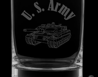 United States Army 13 Ounce Rocks Glass