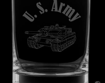 United States Army 12 Ounce Rocks Glass