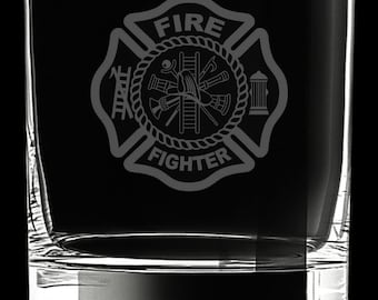Firefighter 10 Ounce Rocks Glass