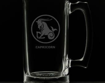Capricorn 25 Ounce Personalized Beer Mug