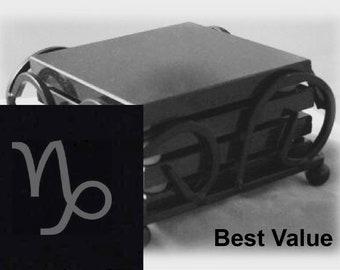 Capricorn Drink Coasters Made Out Of Black  Granite, or Polished Slate (Black Granite - Best Value)