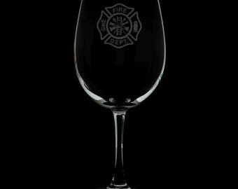 Fire Department 13 Ounce Personalized Wine Glass