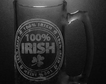 100 Percent Irish 25 Ounce Beer Mug